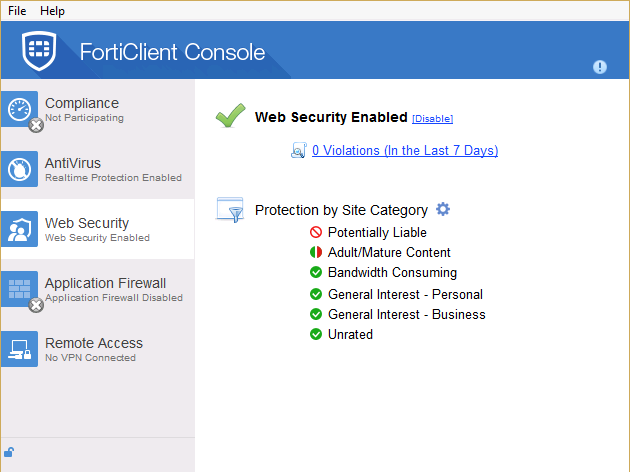 Enable/disable Web Security/Web Filter