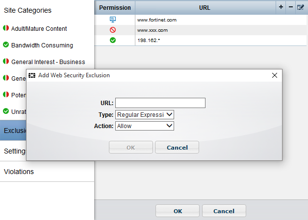 Edit Web Security exclusion lists