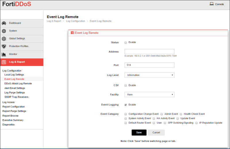 Configuring remote log server settings for event logs