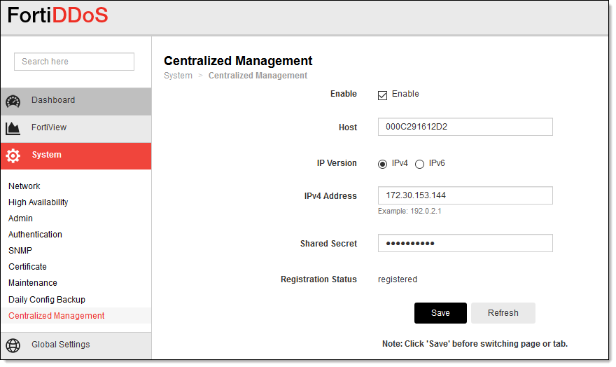 Configuring FortiDDoS Central Manager