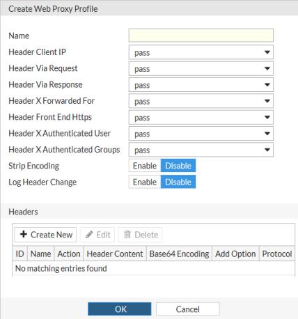 Create or edit a web proxy profile