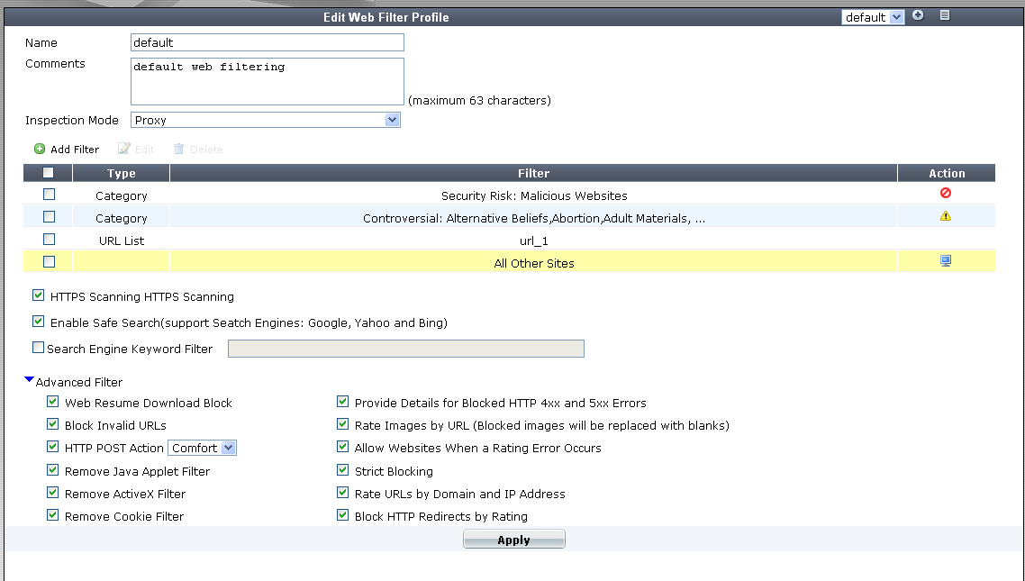 Web Filter profiles