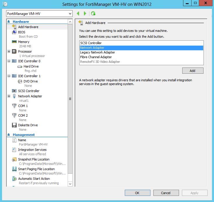 Configure FortiGate VM hardware settings