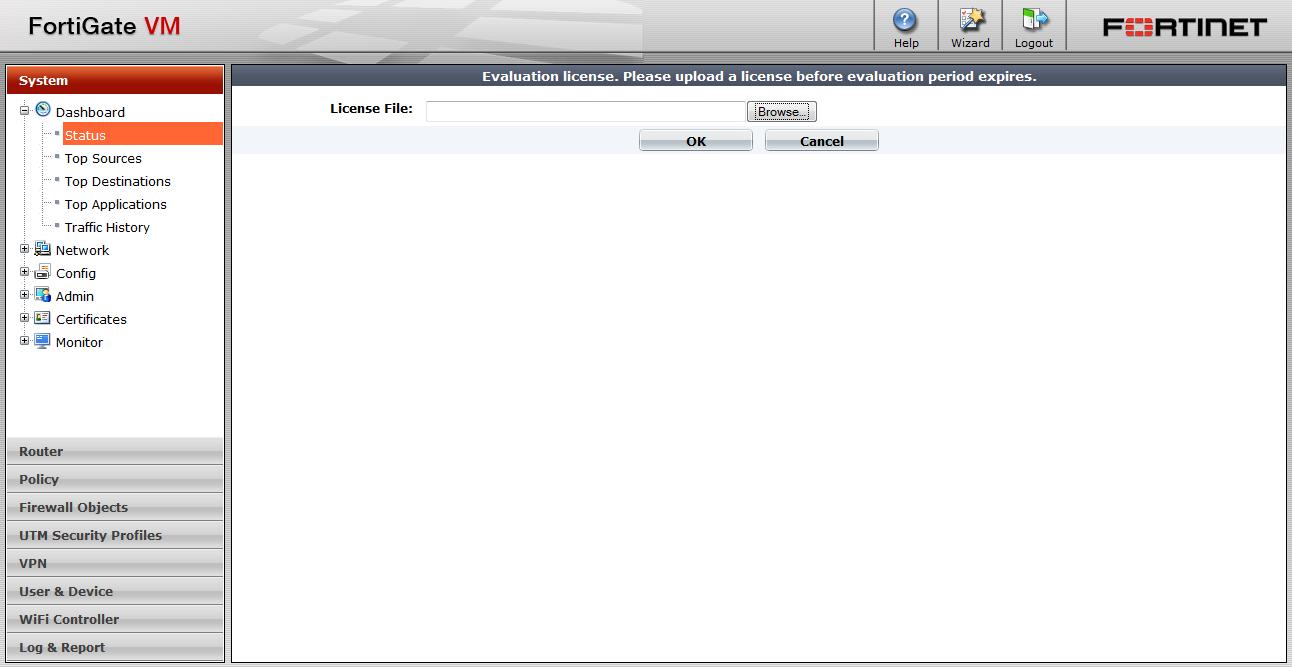 Upload the FortiGate VM license file