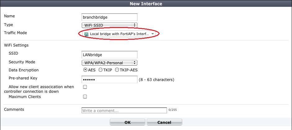 FortiAP local bridging (Private Cloud-Managed AP)
