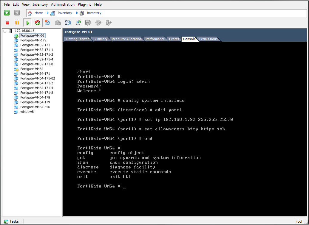 Set FortiGate VM port1 IP address