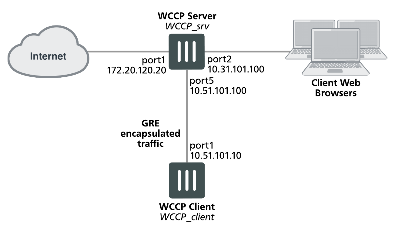 Example caching HTTP sessions on port 80 and HTTPS sessions on port