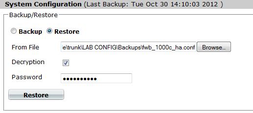 Restoring a previous configuration